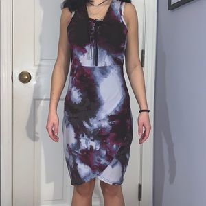 Forever 21 tie dye dress purples dress blue